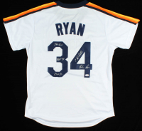 """Nolan Ryan Signed Astros Jersey Inscribed """"324 Wins"""", """"5,714 K's"""" & """"7 No-Hitters"""" (PSA COA) at PristineAuction.com"""