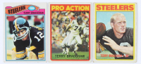 Lot of (3) Terry Bradshaw Football Cards with 1972 Topps #150, 1977 Topps #245, & 1972 Topps #120 In Action at PristineAuction.com