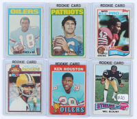 Lot of (6) Football Cards with 1972 Topps #65 Jim Plunkett RC, 1972 Topps #244 Charlie Joiner, 1979 Topps #310 James Lofton RC, 1975 Topps #12 Mel Blount, 1971 Topps #113 Ken Houston, & 1982 Topps #486 Ronnie Lott RC at PristineAuction.com