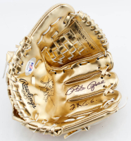 "Pete Rose Signed Rawlings Mini Gold Baseball Glove Inscribed ""2x G.G."" (PSA COA) at PristineAuction.com"
