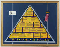 "John Wooden Signed ""The Pyramid of Success"" 23x30 Custom Framed Card Display with Vintage UCLA Pin (PSA COA) at PristineAuction.com"
