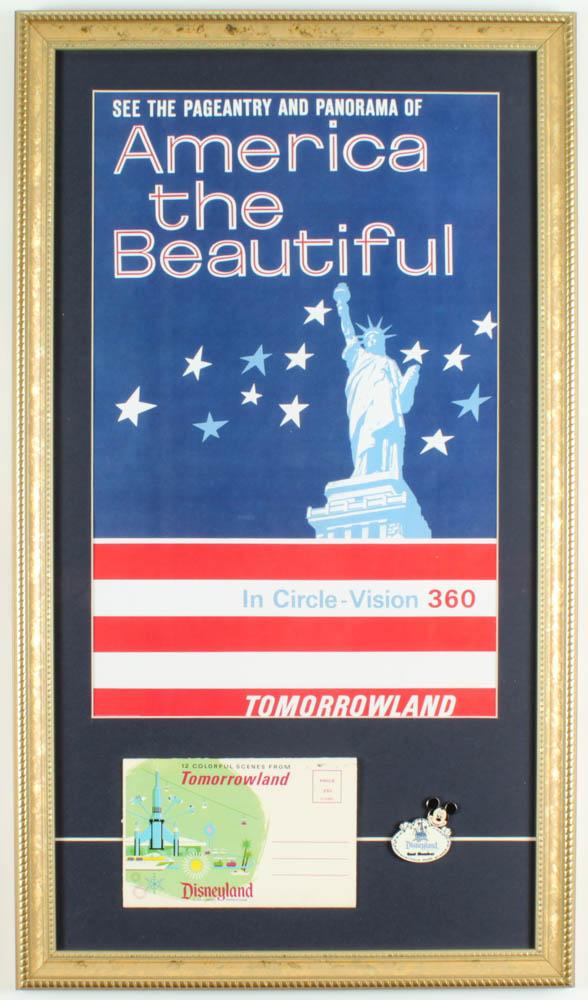 "Disneyland's ""Tomorrowland: America the Beautiful 360 Show"" 15x26 Custom Framed Print Display with Vintage Photo Portfolio & Cast Member Pin at PristineAuction.com"
