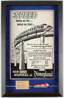 "Disneyland Tomorrowland ""Monorail"" 14.5x23 Custom Framed Poster Print Display with Vintage E Ride Ticket & Vintage Souvenir Monorail Resin Magnet at PristineAuction.com"