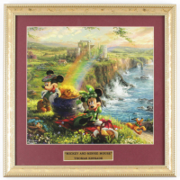 "Thomas Kinkade Walt Disney's ""Mickey And Minnie Mouse"" 16x16 Custom Framed Print Display at PristineAuction.com"