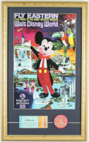 "Vintage Disney World 15x24 Custom Framed Print Display with Ticket Booklet & Vari Vue ""I Like Disney World"" Lapel Pin at PristineAuction.com"