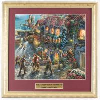 "Thomas Kinkade Walt Disney's ""Pirates Of The Caribbean"" 16x16 Custom Framed Print Display at PristineAuction.com"