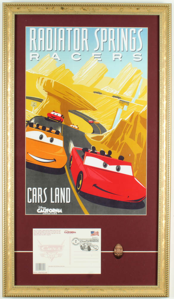 """Disneyland Cars Land """"Radiator Springs Racers"""" 15x26 Custom Framed Print Display with Grand Opening Day Envelope & Cars Pin at PristineAuction.com"""