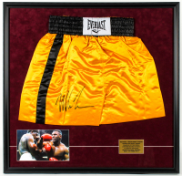 Mike Tyson Signed 30.5x32 Custom Framed Boxing Trunks Display (PSA COA) at PristineAuction.com