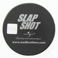 "Yvon Barrette Signed ""Slap Shot"" Cheifs Logo Hockey Puck Inscribed ""Denis Lemieux"" (COJO COA) at PristineAuction.com"