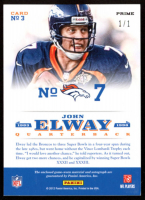 John Elway 2012 Certified Elway Collection Materials Autographs Prime #3 / 1 at PristineAuction.com