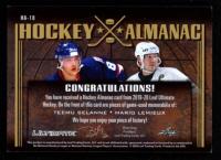 Teemu Selanne / Mario Lemieux 2019-20 Leaf Ultimate Ultimate Hockey Almanac Relics Green Spectrum #HA18 at PristineAuction.com
