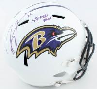 "Ray Lewis Signed Ravens Full-Size Matte White Speed Helmet Inscribed ""SB XXXV MVP"" (Beckett COA) at PristineAuction.com"