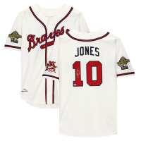 "Chipper Jones Signed Braves Jersey Inscribed ""HOF 18"" (Fanatics Hologram) at PristineAuction.com"