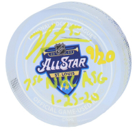 "Jordan Binnington Signed 2020 All-Star Game-Used LE Ice Crystal Puck Inscribed ""1ST NHL ASG 1-25-20"" (Fanatics Hologram) at PristineAuction.com"