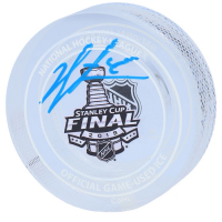 Jordan Binnington Signed 2019 Stanley Cup Game-Used LE Ice Crystal Puck (Fanatics Hologram) at PristineAuction.com