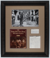 Crosby, Stills, Nash & Young 24x28 Custom Framed Cut Display Band-Signed by (4) with David Crosby, Stephen Stills, Graham Nash & Neil Young (JSA LOA) at PristineAuction.com