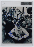 Oasis 8x10 Photo Band-Signed by (4) with Liam Gallagher, Noel Gallagher, Paul McGuigan & Paul Arthurs (BGS Encapsulated) at PristineAuction.com