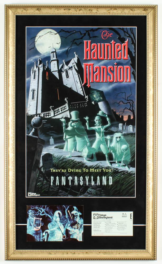"Disneyland ""Haunted Mansion"" 15x25 Custom Framed Print Display with Vintage Postcard & Disneyland Tokyo Ticket at PristineAuction.com"