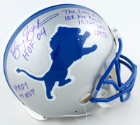Barry Sanders Signed Lions Full-Size Authentic On-Field Helmet With Multiple Career Stat Inscriptions (Schwartz Sports Hologram) at PristineAuction.com