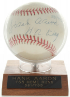 "Hank Aaron Signed LE ONL Baseball Inscribed ""HR King"" with Display Case (Beckett COA) at PristineAuction.com"