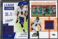 Lot of (2) Lamar Jackson 2020 Football Cards with Score Freshman Flashbacks Jerseys #13 & Prestige League Leaders Jerseys Xtra Points Blue #9 at PristineAuction.com