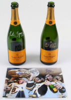 "Lot of (3) Patrice Bergeron & Brad Marchand Signed Bruins 2010-11 Stanley Cup Championship Items with (2) ""Veuve Clicquot"" Champagne Celebration Bottles & (1) 8x10 Photo (Bergeron COA & Marchand Hologram) at PristineAuction.com"