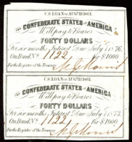 Uncut Sheet of (2) 1861 Confederate States of America Richmond CSA $40 Forty Dollar Bond Coupons at PristineAuction.com