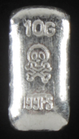 10 Grams .999 Silver Skull & Crossbones Bullion Bar at PristineAuction.com
