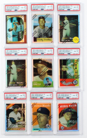 Lot of (9) PSA Graded 8 1996 Mickey Mantle Topps Finest Refractors Baseball Cards with #8 1958, #9 1959, #4 1954, #7 1957 at PristineAuction.com