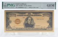 """1928 $10,000 Ten Thousand Dollars """"Smithsonian Edition"""" Gold Certificate (PMG Gem Uncirculated) at PristineAuction.com"""