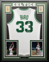 Larry Bird Signed Celtics 34.5 x 42.5 Custom Framed Jersey (JSA COA & Bird Hologram) at PristineAuction.com