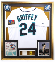 Ken Griffey Jr. Signed 32x36 Custom Framed Cut Display with Vintage Mariners Patch (BGS) at PristineAuction.com