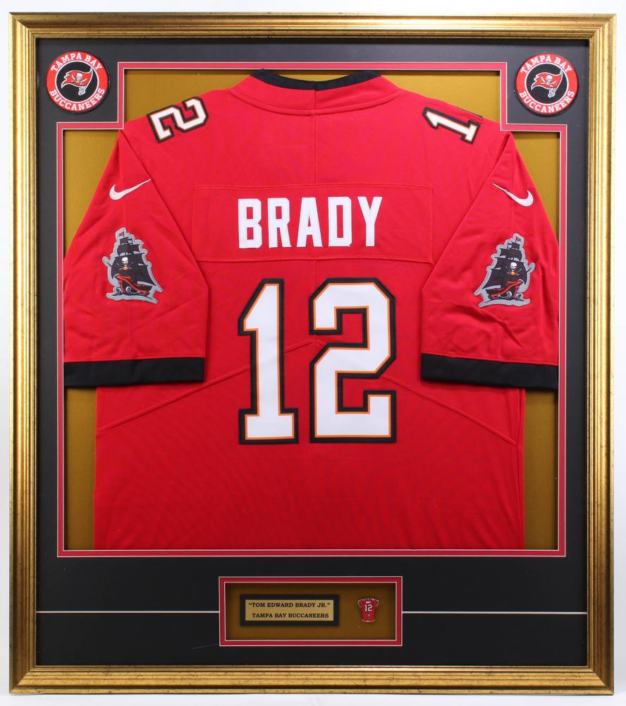 Tom Brady 32x36 Custom Framed Jersey Display with Brady Jersey Pin ...