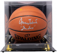 """Jerry West Signed NBA Game Ball Series Basketball Inscribed """"The Logo"""" with Display Case (JSA COA) at PristineAuction.com"""