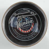 Marian Hossa Signed 2015 Winter Classic Logo Hockey Puck with Display Case (YSMS COA) at PristineAuction.com
