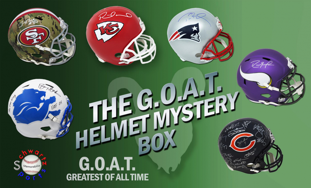Schwartz Sports The G.O.A.T. Football Superstar Signed Full-Size Helmet Mystery Box - Series 3 (Limited to 150) at PristineAuction.com