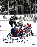 "Darren McCarty Signed Red Wings 8x10 Photo Inscribed ""What Happened Was, He Didnt Act Right"" (Playball Ink Hologram) at PristineAuction.com"