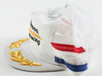 Amoco Ultimate Racing Snapback Hat Signed by (4) with Paul Newman, Carl Haas, Mario Andretti (Beckett LOA) at PristineAuction.com