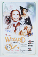 """""""The Wizard Of Oz"""" 15x24 Poster Cast-Signed by (7) with Jerry Marren, Donna Stewart-Hardaway, Karl Slover, Clarence Swensen Inscribed """"Munchkin Love"""" & """"Child Munchkin"""" (JSA COA) at PristineAuction.com"""