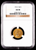 1912 $2.50 Indian Head Quarter Eagle Gold Coin (NGC AU58) at PristineAuction.com