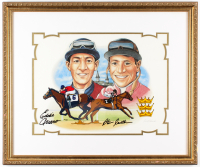 "Eddie Arcaro & Steve Cauthen Signed LE ""Crowning Moments"" 20.5x24.5 Custom Framed Hand Painted Serigraph Cel Display (PSA Hologram) at PristineAuction.com"