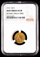Mint Error - 1912 $2.50 Indian Head Quarter Eagle Gold Coin - Reverse Struck Through (NGC AU58) at PristineAuction.com