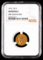 1912 $2.50 Indian Head Quarter Eagle Gold Coin (NGC AU Details) at PristineAuction.com