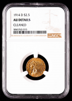 1914-D $2.50 Indian Head Quarter Eagle Gold Coin (NGC AU Details) at PristineAuction.com