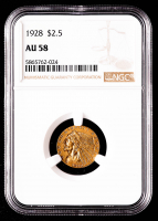 1928 $2.50 Indian Head Quarter Eagle Gold Coin (NGC AU58) at PristineAuction.com