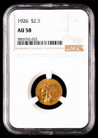 1926 $2.50 Indian Head Quarter Eagle Gold Coin (NGC AU58) at PristineAuction.com
