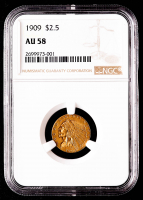 1909 $2.50 Indian Head Quarter Eagle Gold Coin (NGC AU58) at PristineAuction.com