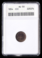 1854 Silver Three-Cent Piece (ANACS AU50) (Toned) at PristineAuction.com