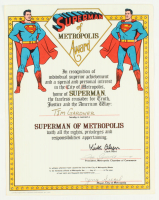 "Jerry Siegel, Joe Shuster & Kirk Alyn Signed ""Superman of Metropolis Award"" 11x14 Document (Beckett LOA) at PristineAuction.com"