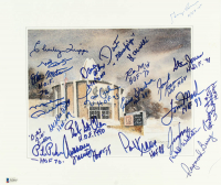 NFL Hall of Famer's 12.5x14.5 Print Signed By (30) With Charley Trippi, Mike Ditka, Randy White, Paul Krause, Raymond Berry, Otto Graham With Multiple Inscriptions (Beckett LOA) at PristineAuction.com